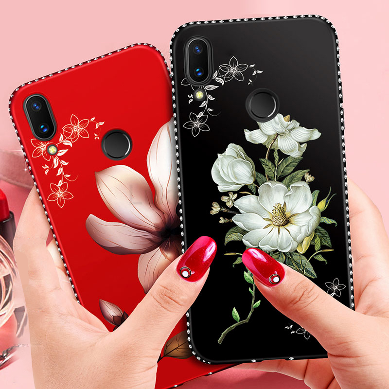 Phone <font><b>Case</b></font> for <font><b>Huawei</b></font> Honor View <font><b>20</b></font> 10 8X 9 8 Mate <font><b>20</b></font> lite <font><b>pro</b></font> P20 P10 P8 P9 lite 2017 P smart Diamond Flower Silicone TPU Cover image