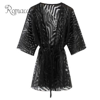 Romacci Semi Sheer tunics for beach New Women Kimono Cardigan Solid Open Front Boho Loose Outerwear Beach Bikini Cover Up Black