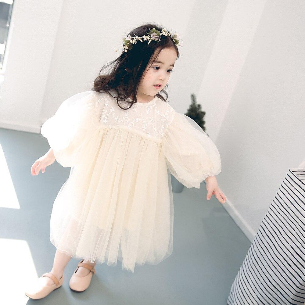 Novo crianças vestidos para meninas primavera menina criança bebê doce vestido de princesa gaze vestido roupas da menina do bebê