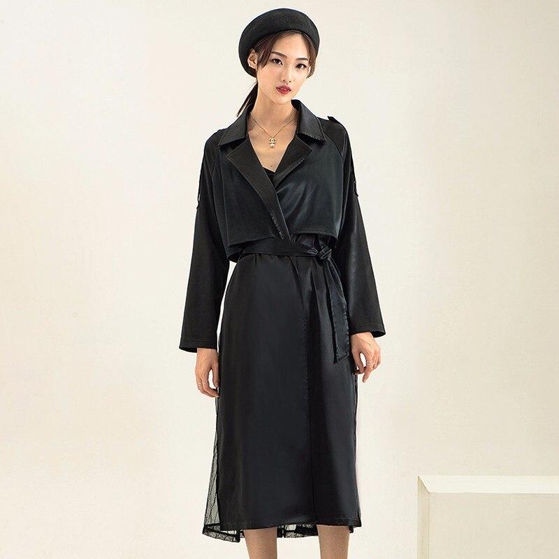 Mode black Coupe vent Couture Avec Changeant Plissée L452 2018 Couleur Long Peacock Robe Veste Blue Nouveau Femelle De Ceinture BUSxSfwInq