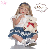Logeo Baby Silicone Reborn Baby Doll 70cm Silicone Baby Doll Lovely lifelike bebes reborn doll lol Doll Kids Birthday Gifts toys