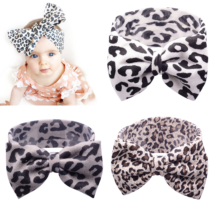 Mother & Kids Accessories 1pc Lovely Children Girls Leopard Print Floral Bowknot Hairband Cute Big Bowknot Headband Elastic Stretch Hair Band Accessories