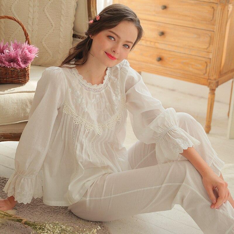 2018 Princess Lace   Pajama     Sets   Vintage 100% Cotton Sleepwear Long Sleeved Pijama Sweet Lace Home Clothing Women's Suits Bathrobe