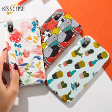 KISSCASE Cute Cat Flower Phone Case For iPhone X XS Max 7 8 Plus XR Luxury Hard PC 6 6S Cover Fundas
