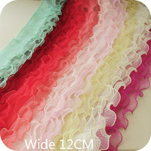 12cm Wide three layer body pleated corrugated lace elastic folded lace Material ribbon dress collar edge trim sewing supplies недорого