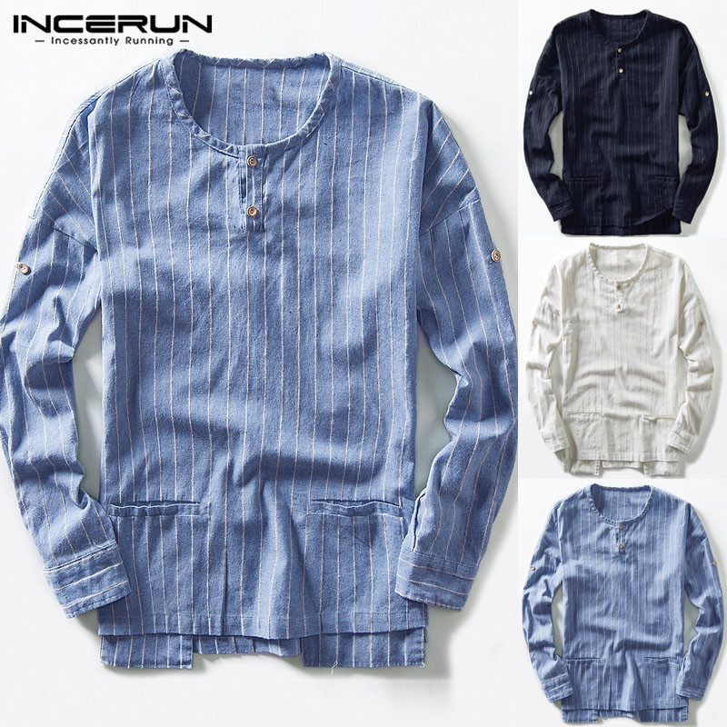 INCERUN Plain Men T Shirt Long Sleeve Crew Neck Double Pockets Shirts Male Clothing Pullover Casual Vacation Tee Tops Hombre