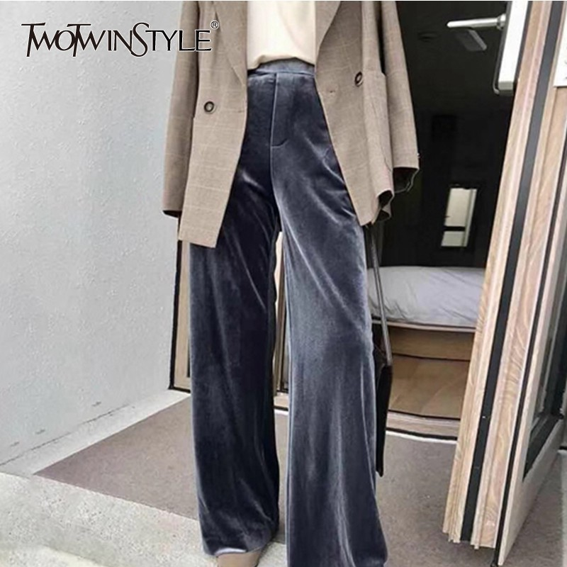 TWOTWINSTYLE Casual   Wide     Leg     Pants   Female High Waist Long Pleuche Trousers For Women 2019 Spring Autumn Korean Fashion Tide