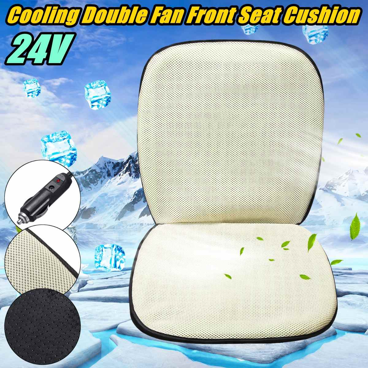 3D Cooling Fan Front Car Seat Cushion Double Fans Cooling Seat Cover Summer Air Cooler Chair Pad Car Ventilation Cushion 12V/24