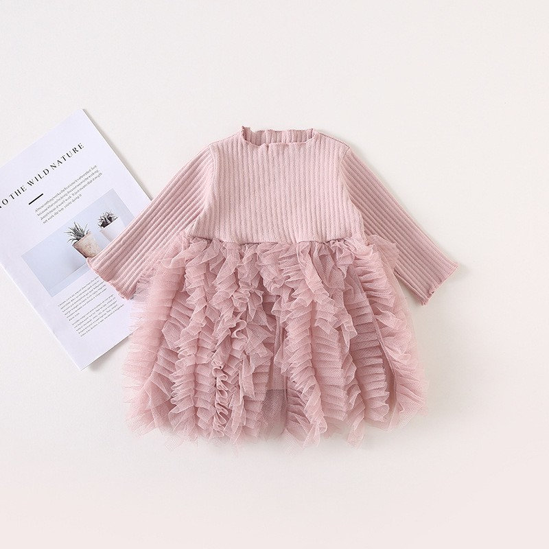 2019 Cotton Long Sleeve Knitted Kids Dresses For Girls Toddler Clothing Baby Girl Drees Tulle Patchwork Grey Pink White Spring 5