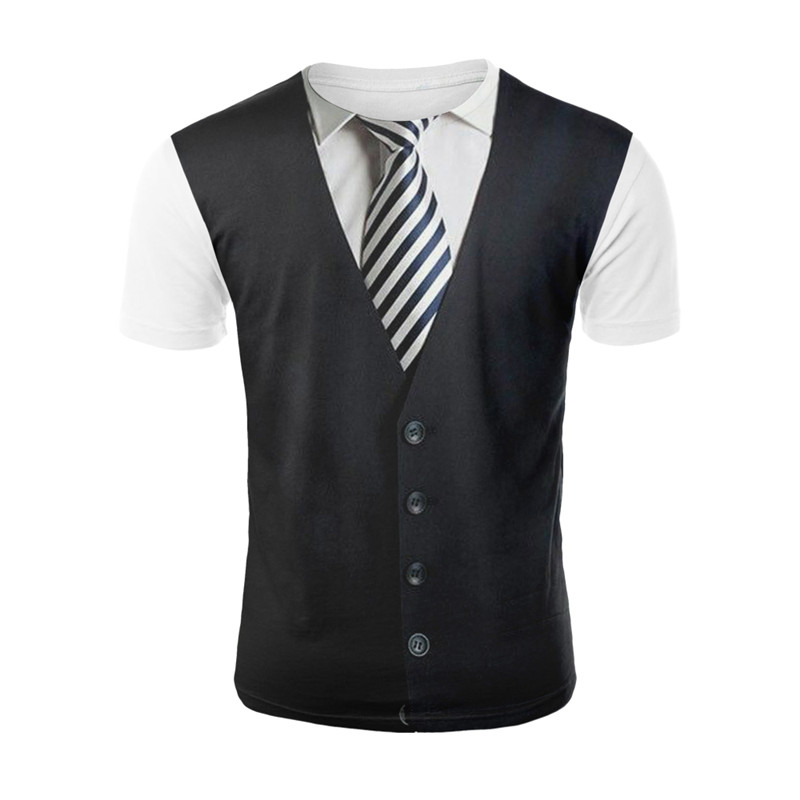 Yelite 2019 novo mais novo denim terno masculino 3d impresso esporte casual tendência de couro manga curta t camisa manga tops legal o-pescoço t