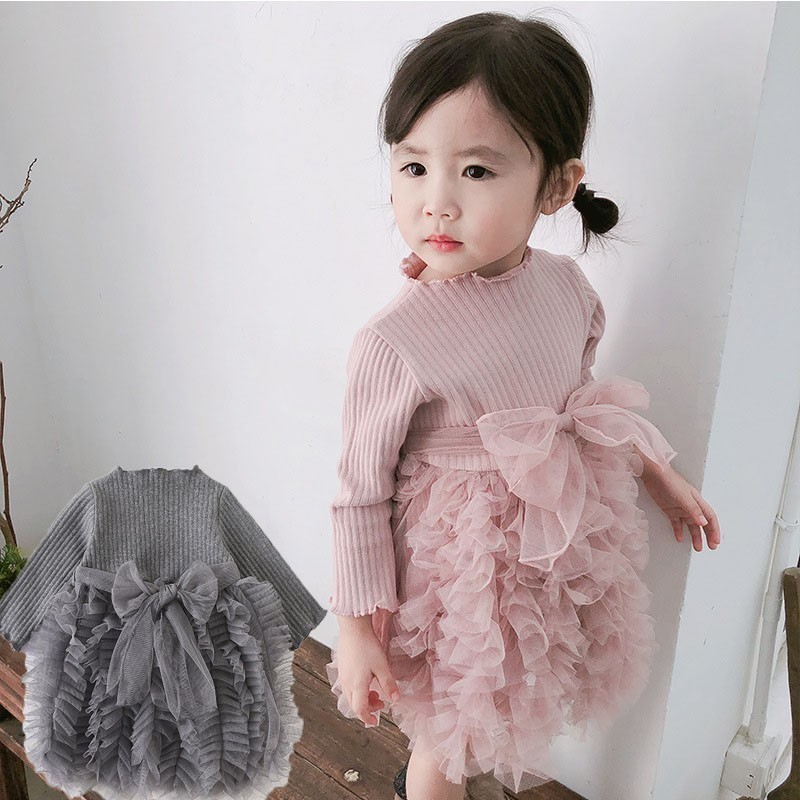 2019 Cotton Long Sleeve Knitted Kids Dresses For Girls Toddler Clothing Baby Girl Drees Tulle Patchwork Grey Pink White Spring 1