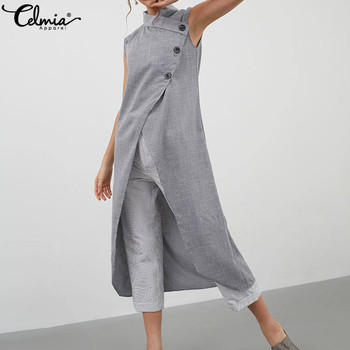 645b673ea Camisetas largas de moda de Celmia Blusas divididas de Mujer 2019 ...