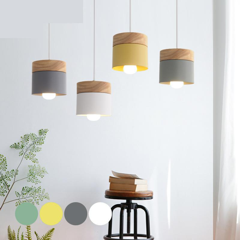 все цены на Nordic style wooden lamp for baby kids room Restaurant pendant lamp Modern Simple Wood Hanging Lights Bar Balcony Aisle Lamps онлайн