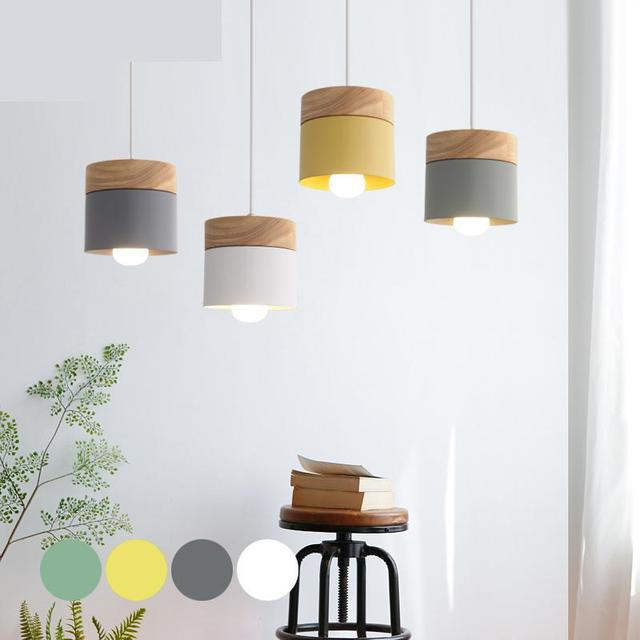 Nordic style wooden lamp for baby kids room Restaurant pendant lamp Modern Simple Wood Hanging Lights Bar Balcony Aisle Lamps