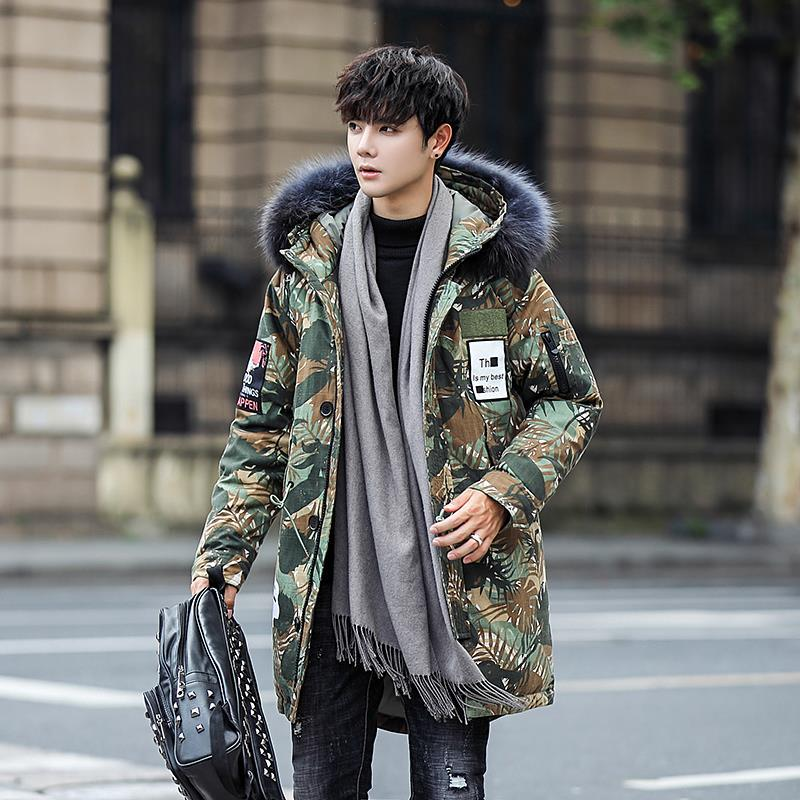 Parkas 2018 Winter New Pattern Mens Youth Long Thicking Camouflage Down Jacket Cheap Discounting Cotton Popular Quality Clothe Jackets & Coats