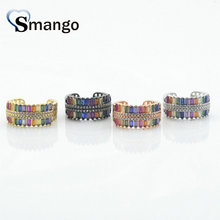 5Pieces,Women Fashion Jewelry,The Rainbow Series Double-deck Shape Rings,4 Plating Colors Can Mix  Wholesale