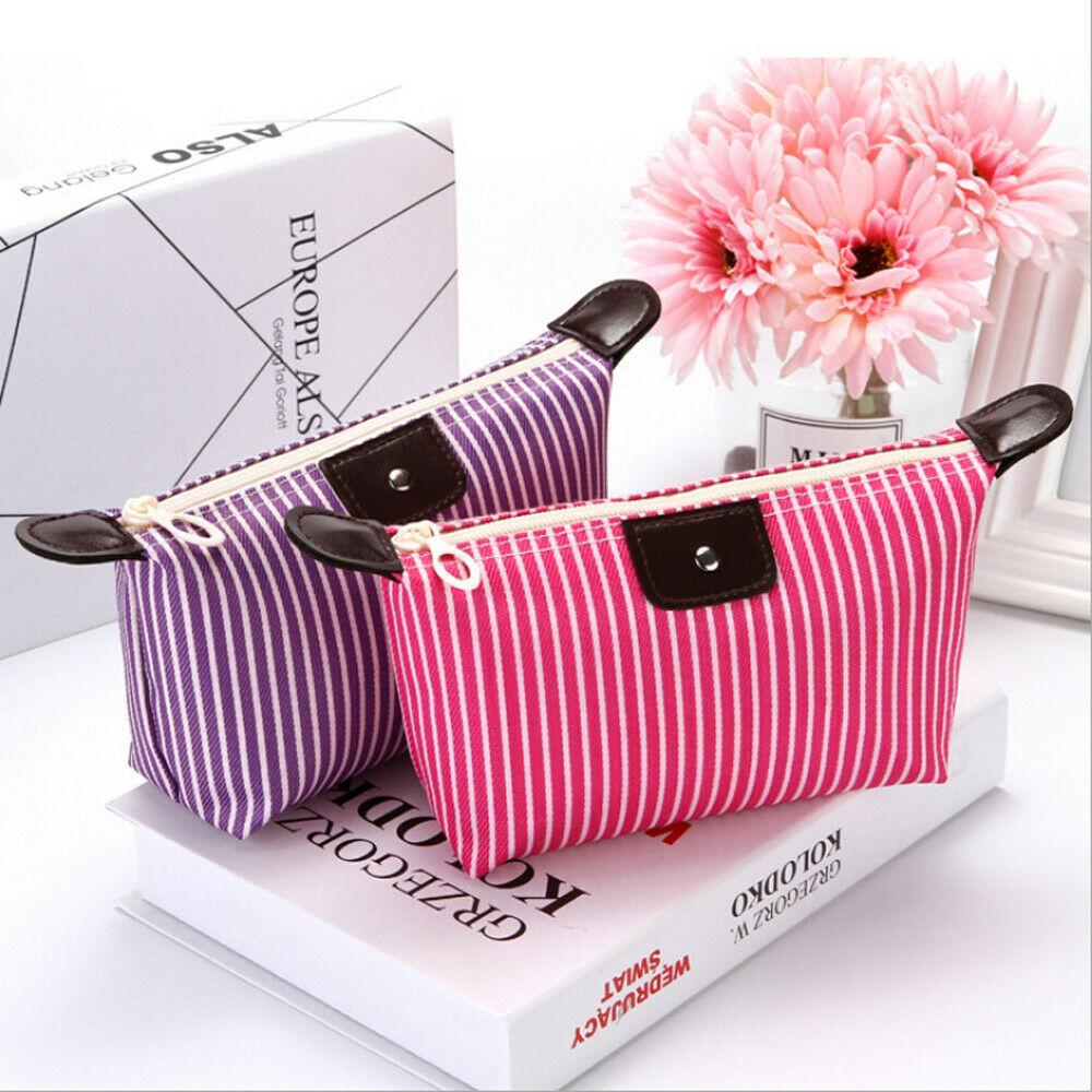 Women's Fashion Makeup Bag Multifunctional Casual Travel Stripe Clutch Bag