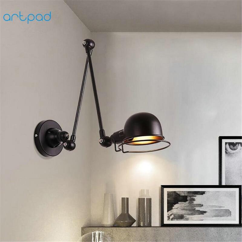 Artpad Retro American E14 E27 Rotatable Wall Bedside Reading Lamp Up And Down Adjust Arm Led