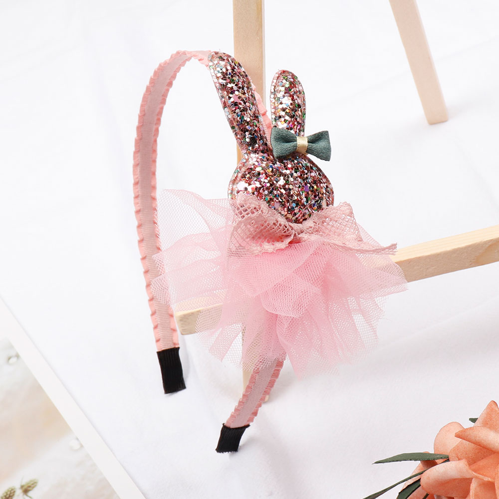 ncmama Girls Hair Accessories Korean Cute Hairband for Kids Glitter Bunny Hair Hoop Princess Crown Handmade Hair Band   Headwear
