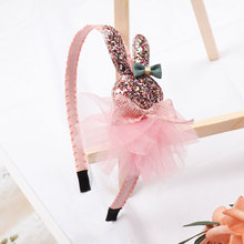 ncmama Girls Hair Accessories Korean Cute Hairband for Kids Glitter Bunny Hoop Princess Crown Handmade Band Headwear