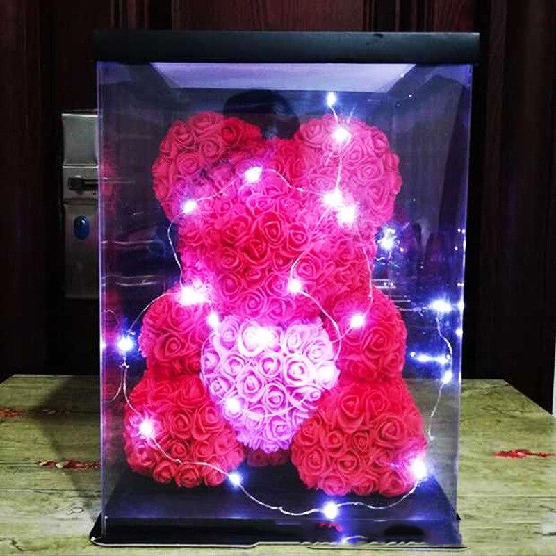 LED Subiu Urso Presente Criativo Simulação Flor Eterna Little Bear PE Sabão Subiu Presente de Aniversário Presente do Dia Dos Namorados com caixa