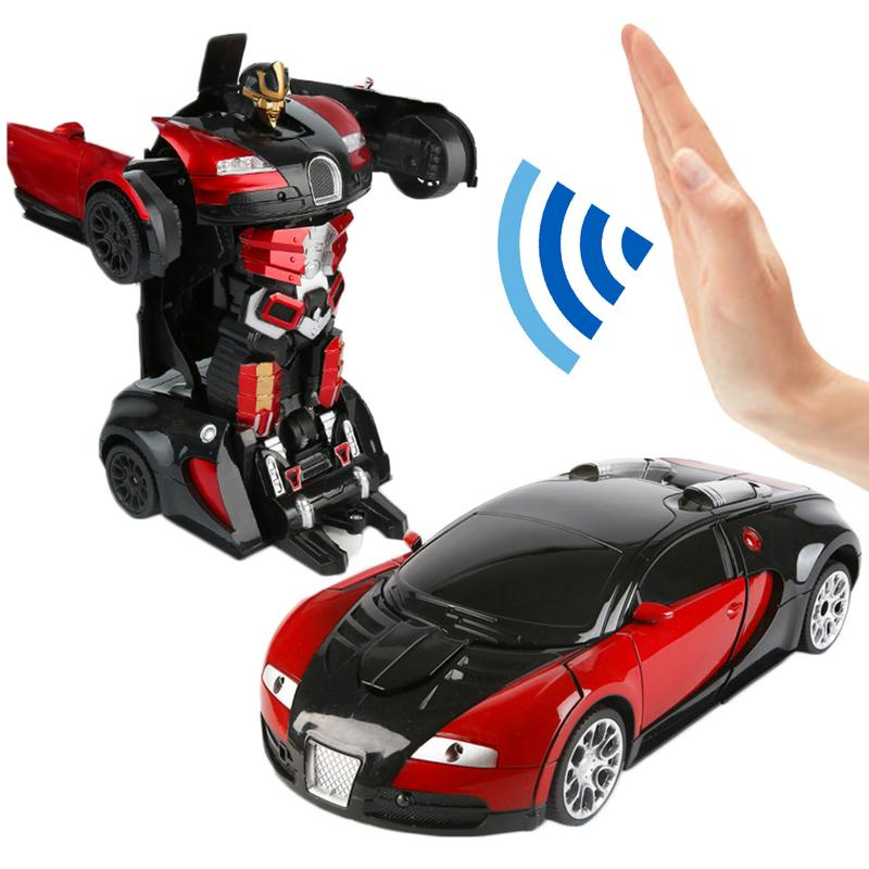 2in1 Transforming Rc Gesture Remote Control Robot Toy Gesture Induction Illuminate Light Car Robot Model Toy Boy Birthday Gift Soft And Antislippery