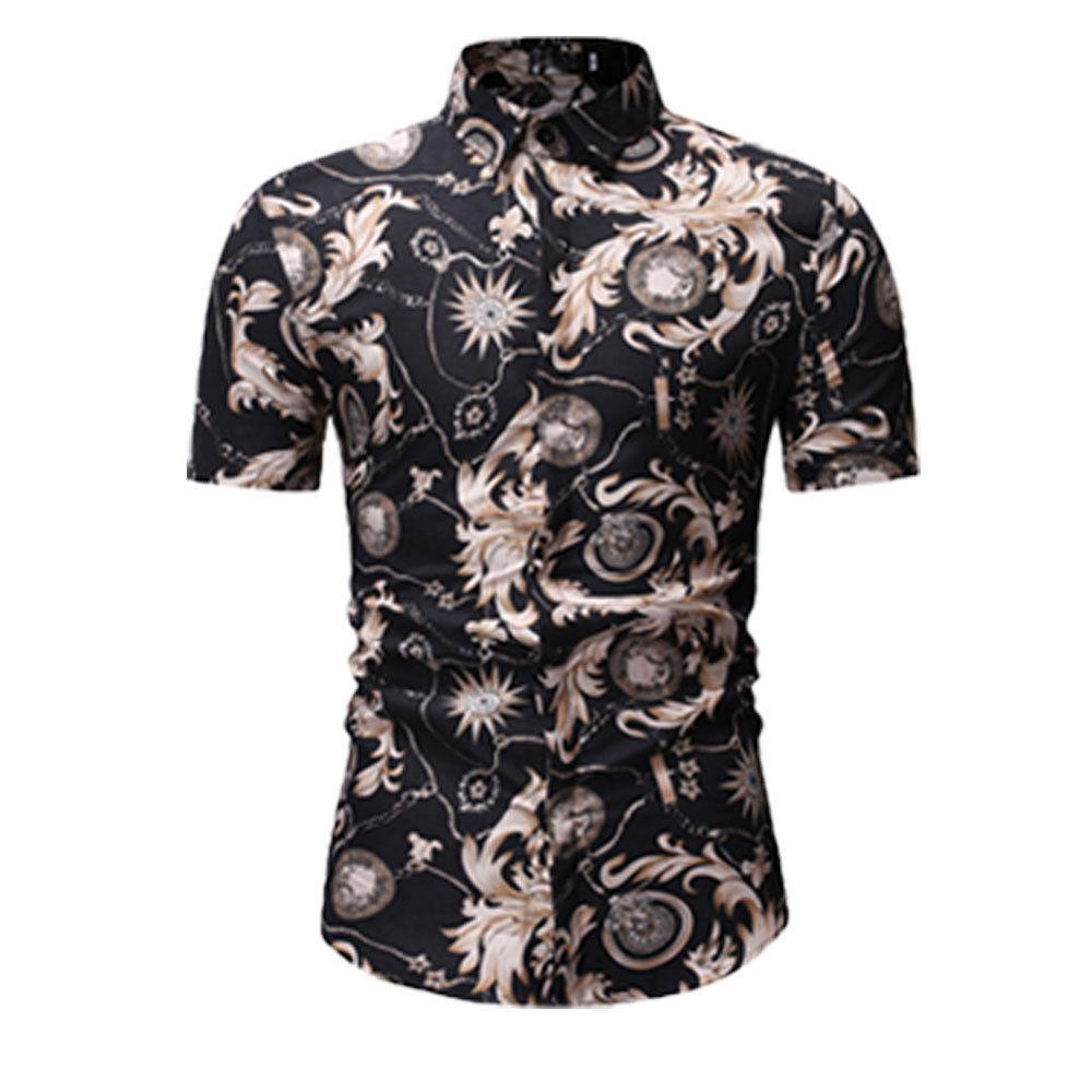 Men Luxury Slim Fit Dress Shirt Short Sleeve Stylish Formal Casual T-shirt Top