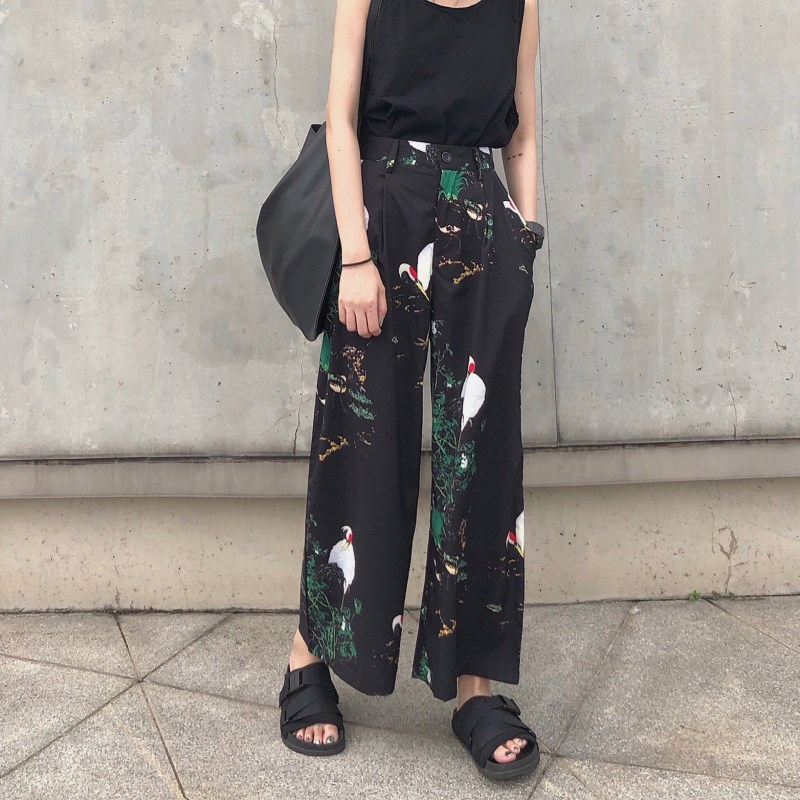 Woman Black Long Printed Causal Trousers Vintage   Wide     Leg     Pants   High Elastic Waist Harajuku Trousers