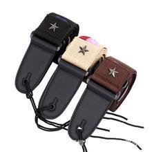 Mounchain Guitar Strap Acoustic Folk Guitarra Straps Cotton Leather Head Pentagram with Pick Pocket Accessories