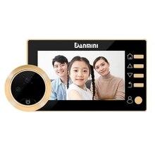 دانميني جرس باب يتضمن شاشة عرض فيديو ثقب الباب مع الكاميرا ، 4.3 بوصة Hd شاشة ديجيتال ، مادة سبائك الزنك القط عيون مراقب الباب ، 300 ، 000