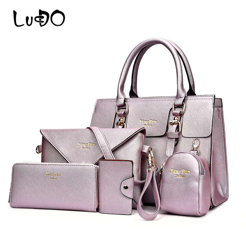 LUCDO Brand 5 PCS/Sets Woman Luxury Handbag PU Leather Composite Bag New Female Messenger Bag Purse Card Bag Key Bag Designer