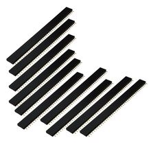 10X 40 pole Female Pin female connector pin strip header 2.54mm jack single-breasted Black 50pcs pitch 2 54mm 1x6pin 6 pin female single row straight header strip connector socket