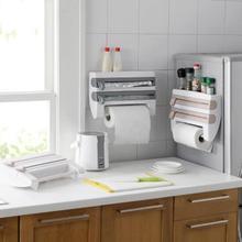 Rolo de papel organizador para cozinha e cozinha, rack para armazenamento de película, toalha, prateleira, suporte de parede, utensílios de cozinha