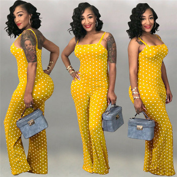 2019 Women Ladies Clubwear Summer Playsuit Jumpsuit Romper Long Pants Polka Dots Party Trousers Plus Size 2