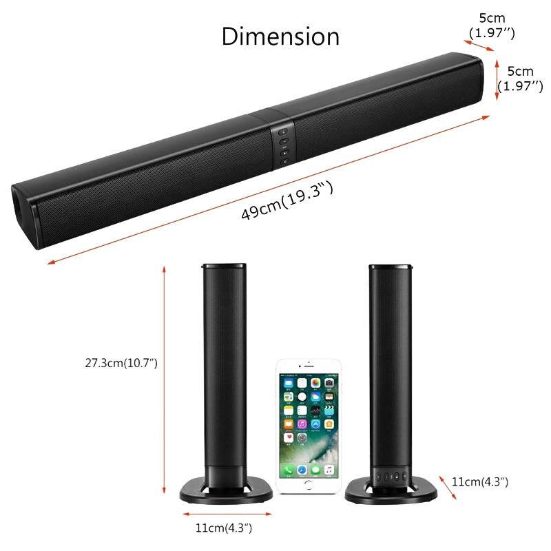 Home cinéma 20W Bluetooth barre de son Tv Aux optique Bluetooth barre de son haut-parleurs colonne barre de son avec haut-parleur Subwoofer pour Tv - 3