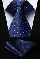 Мужской галстук сплетенные шелковый галстук новый Темно-синие пледы DotHanky комплект TC3040V8S вечерние свадебные классические модные платок