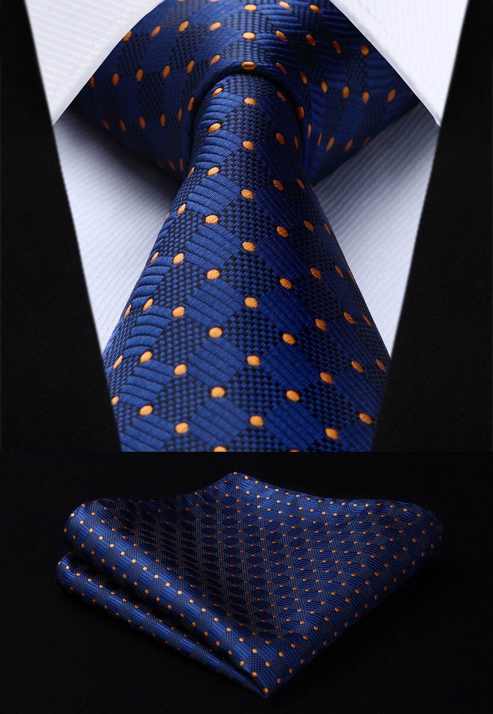 Mens Tie Woven Silk Necktie New Navy Blue Plaids DotHanky Set TC3040V8S Party Wedding Classic Fashion Pocket Square Tie
