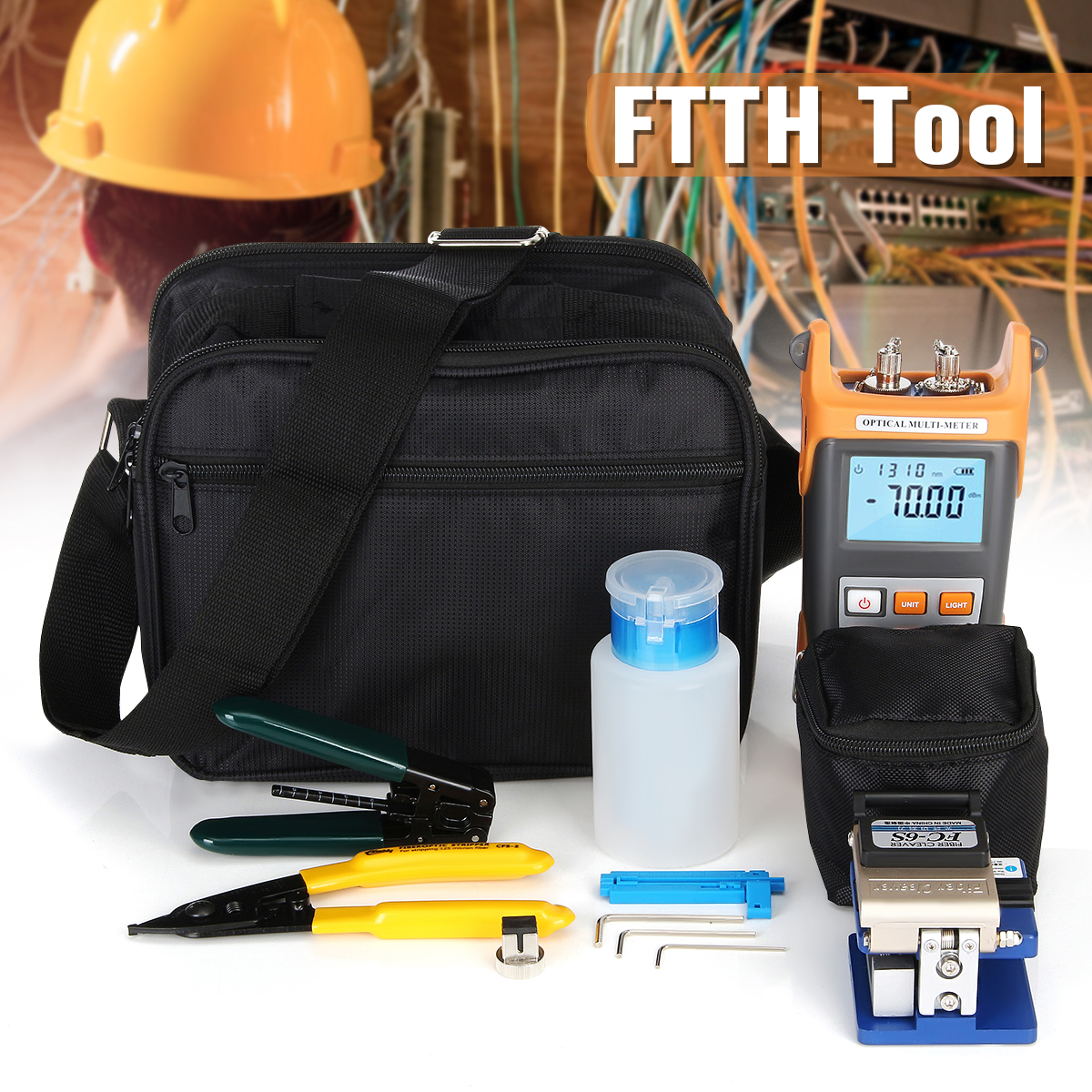 FTTH Tool Kit Visibile Fault Locator Fibra Ottica Power Meter Tester Mannaia Pinza