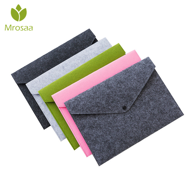 Mrosaa 1PC Simple Solid A4 Big Capacity Document Bag Business Briefcase File Folders Chemical Felt Filing Products Student Gifts