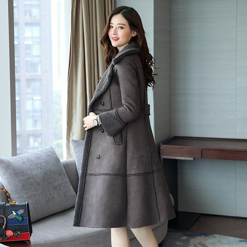 Laine Faux Parka Tan Double Veste Ouatée Long Manteau gray Agneaux C3780 2019 D'hiver 3xl Breasted khaki Femmes Épaissir Beige Coton Light 7r571q