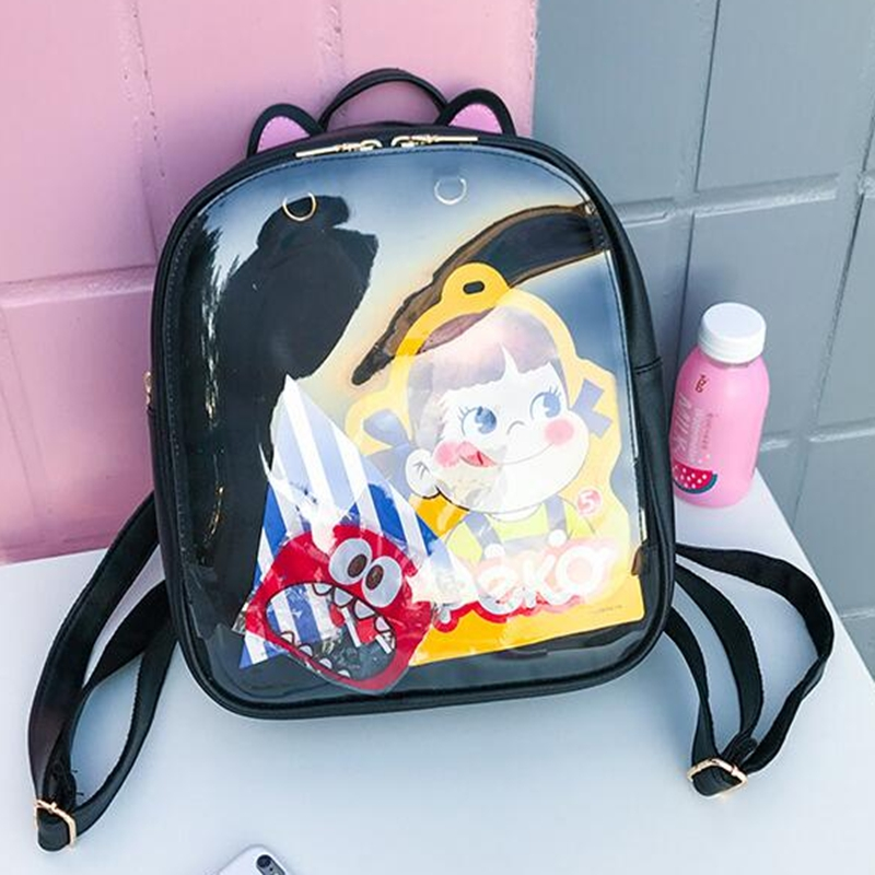 2019 Women Candy Color Cat Ita Bag Korean Clear Transparent Backpack School Bags For Teenage Girls PU Leather Jelly Backpacks