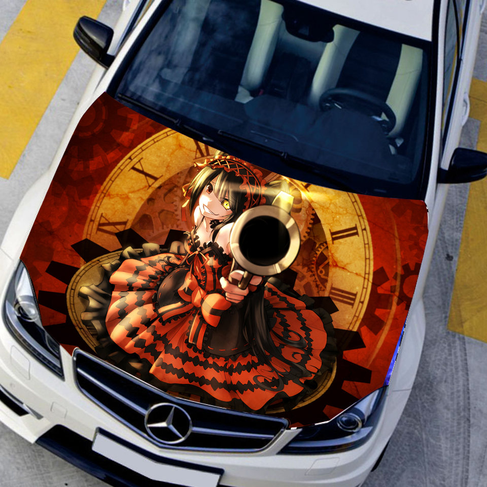 Car styling cartoon hood stickers tokisaki kurumi anime decals camouflage car paint stickers center cap sticker 135150cm