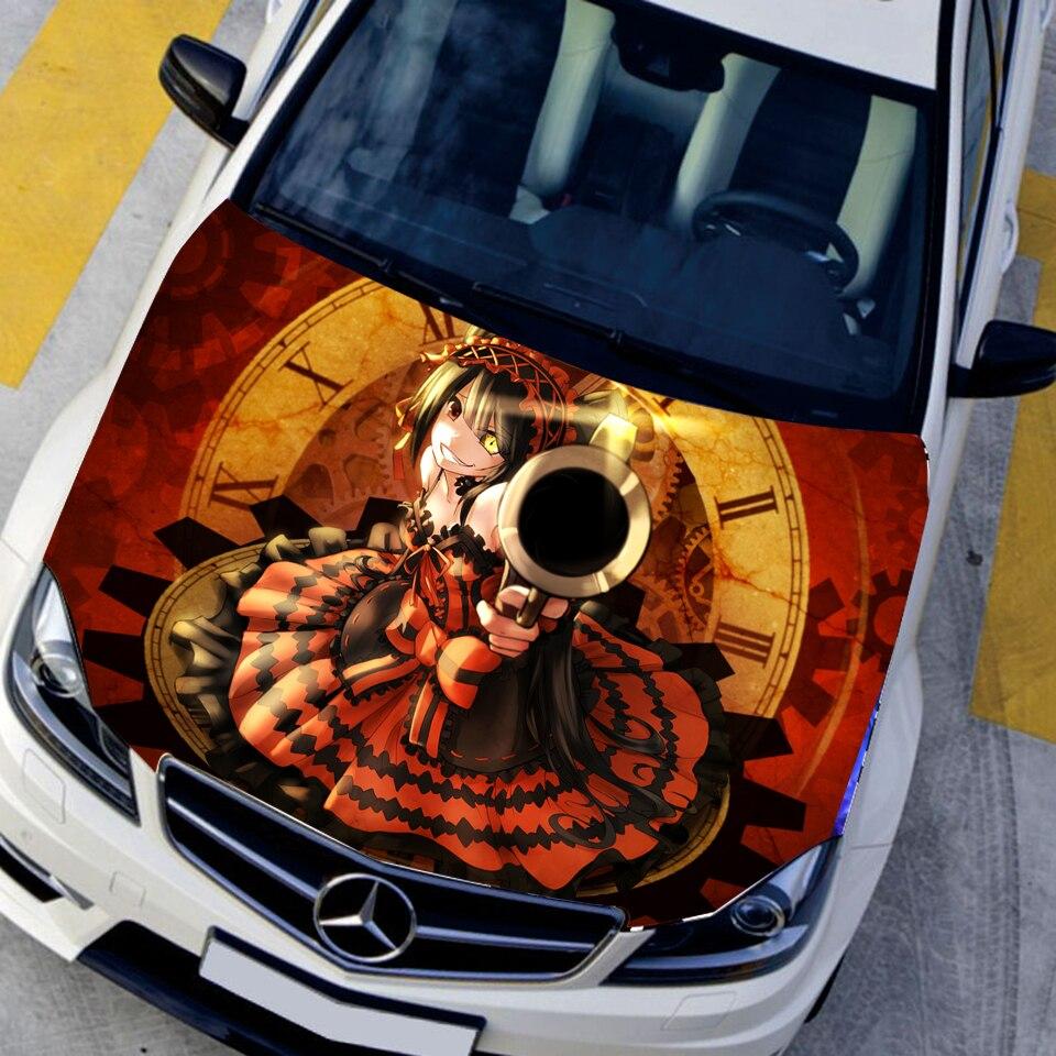 Car Styling Cartoon Hood naklejki Tokisaki Kurumi Anime naklejki kamuflaż lakier samochodowy naklejki osłona środkowa naklejka 135*150CM