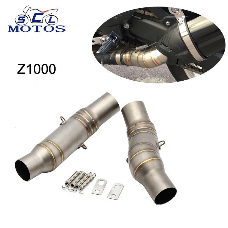 Sclmotos Stainless Steel Motorcycle Exhaust Middle Pipe Round Muffler for Kawasaki Z1000 2010 2016 without Exhaust Slip On Race