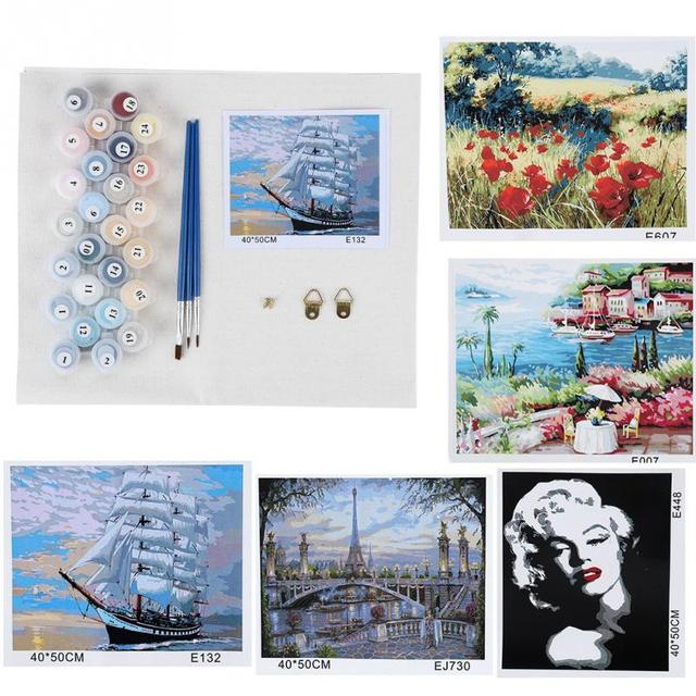 DIY Oil Painting Paint By Number Kit Digital Oil Painting Decoration 40 x 50 Framed Picture Handwork Canvas Oil Paint Home Decor