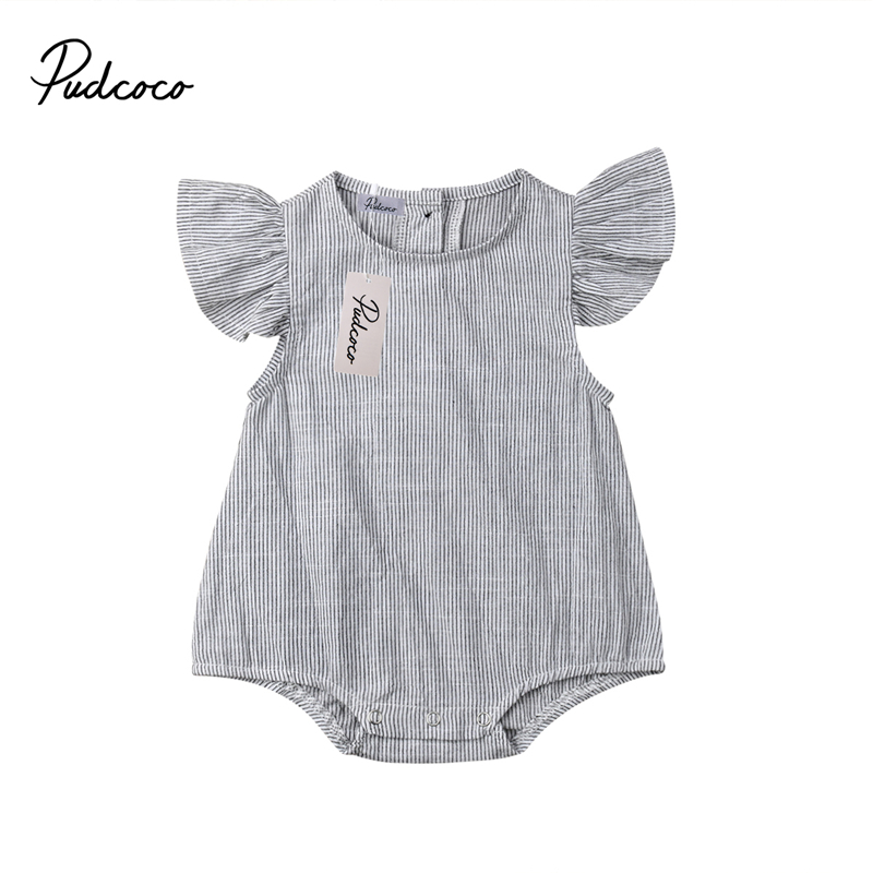 2019 Newborn Baby Girl Cotton Striped   Romper   Jumpsuit Sunsuit Outfits Clothes Toddler Sleeveless   Rompers   Playsuit Clothing Top