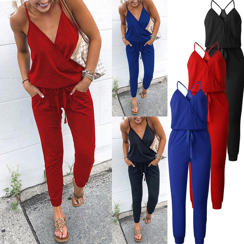 Crossing V Neck Sexy Summer Jumpsuit Sling Sleeveless Blackless Casual Drawstring Pants With Pockets Combinaison Femme Ez*