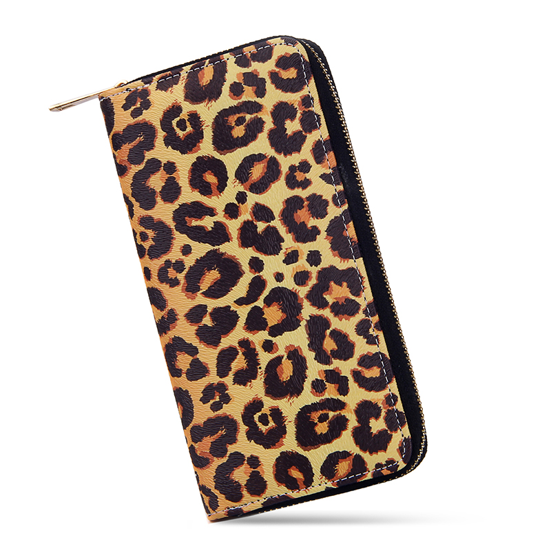 Fashion Colorful Wallets Women Printed Leopard  Long Clutch Wallet Ladies Zipper Money Bags Phone Case Girls Pu Leather Purse