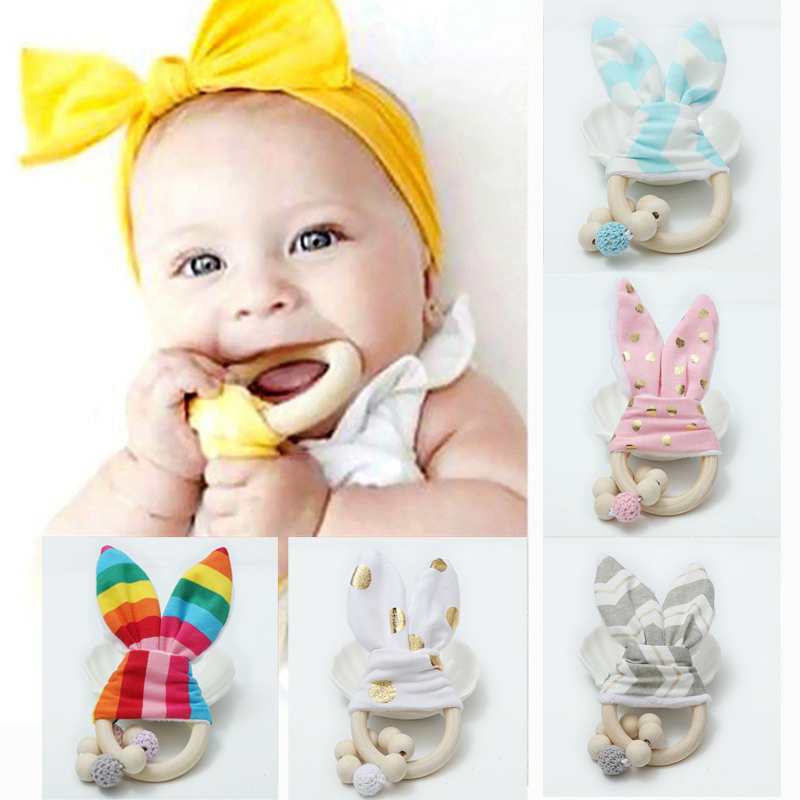 BalleenShiny Baby Rabbit Ears Rattles Teether Toys Soothing Infant Wooden Teething Toys Kids Stroller Decoration Accessories