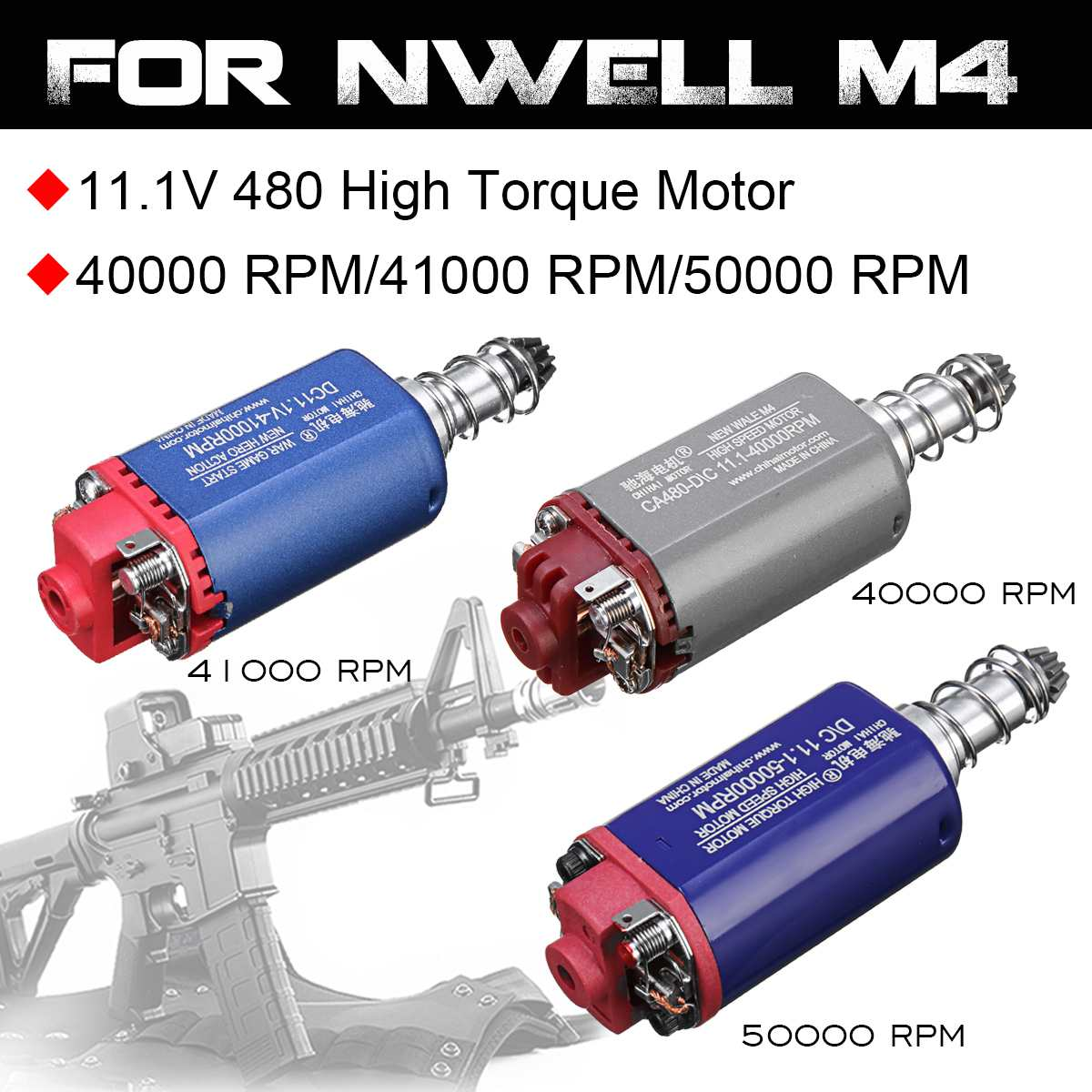 11.1V 40000/41000/50000RPM 480 High Torque Speed DC Motor For NWELL M4 AEG M110 M12 Gel Ball Blasters Toy Guns Replacement Acces11.1V 40000/41000/50000RPM 480 High Torque Speed DC Motor For NWELL M4 AEG M110 M12 Gel Ball Blasters Toy Guns Replacement Acces